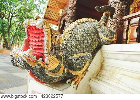 Chiang Mai, Thailand - December 17, 2020: Mythical Mom Guardian Is An Imaginary Animal Shaped Like A