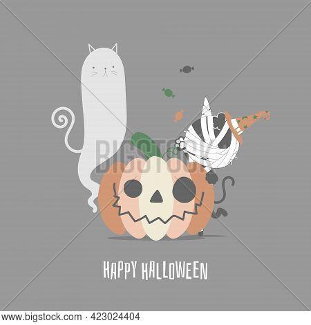 Happy Halloween Holiday Festival With Cute Mummy Cat And Pumpkin, Flat Vector Illustration Cartoon C