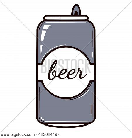 Beer Can Vector Icon. Aluminum Packaging For Alcoholic Drinks. Isolated Print On A White Background.