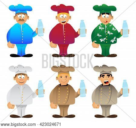 Fat Male Cartoon Chef In Uniform Holding A Glass Of Water. Vector Illustration. Cook Or Baker With