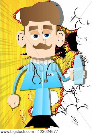 Funny Cartoon Doctor Holding A Glass Of Water. Vector Illustration. Health Care Worker With  A Bottl