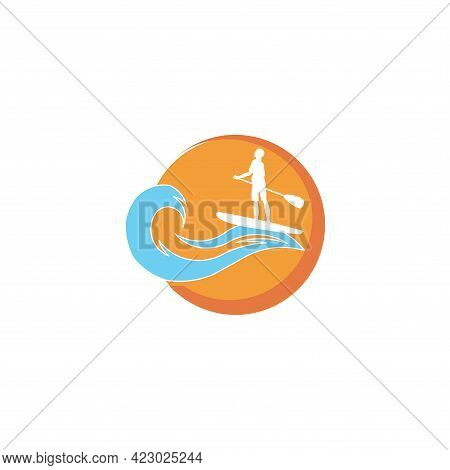 Beautiful  Woman Rowing In Traditional  Boat And Water Wave Vector
