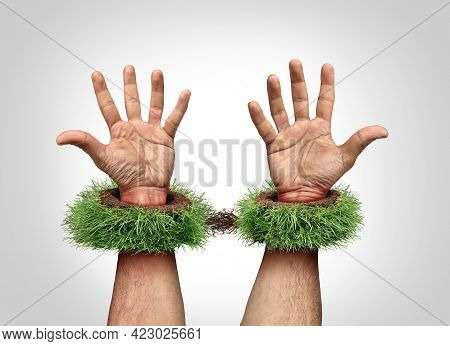 Garden Work Concept And Being A Slave To Your Yard Chores As Mowing Grass And Backyard Landscaping J