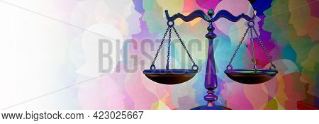 Social Justice Equality Rights As A Crowd Of Diverse People With A Law Symbol Representing Community