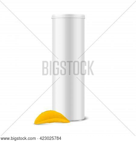 Vector 3d Realistic Glossy Blank White Metal Tin Can With Lid, Canned Food, Potato Chips Packaging A