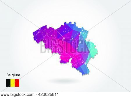 Vector Polygonal Belgium Map. Low Poly Design. Map Made Of Triangles On White Background. Geometric