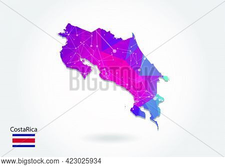 Vector Polygonal Costa Rica Map. Low Poly Design. Map Made Of Triangles On White Background. Geometr