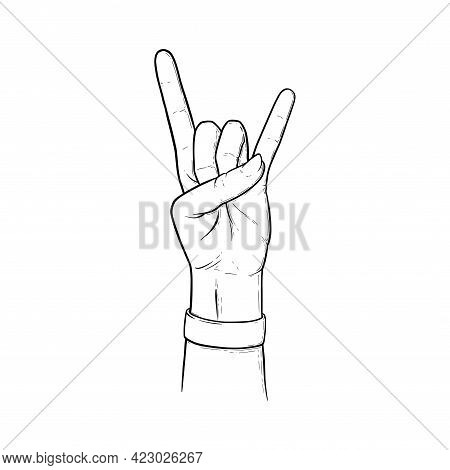 Rock Sign With Two Fingers Up. Heavy Metal Or Rock Hand Gesture Isolated In White Background. Outlin
