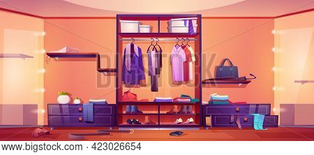 Messy Walk-in Closet, Dressing Room Interior With Scattered Male And Female Clothes, Shoes And Acces