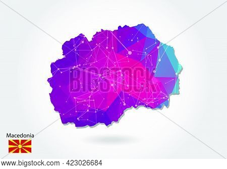 Vector Polygonal Macedonia Map. Low Poly Design. Map Made Of Triangles On White Background. Geometri