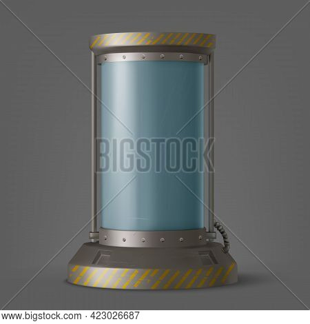 Cryonics Capsule, Futuristic Container With Glass Tube And Cryogenic Liquid For Hibernation On Space