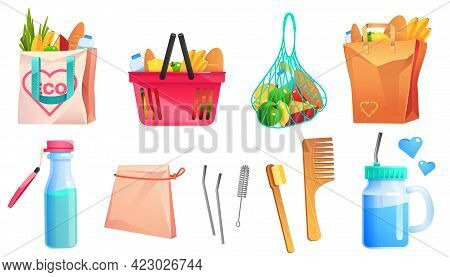 Zero Waste Goods, Net, Cotton And Paper Shopping Bags, Wooden Comb And Toothbrush, Glass Bottle And