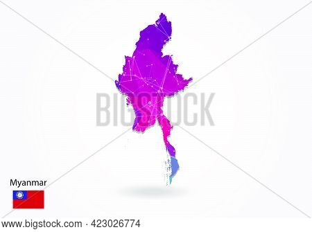 Vector Polygonal Myanmar Map. Low Poly Design. Map Made Of Triangles On White Background. Geometric