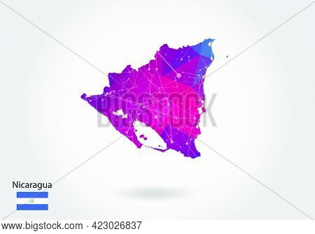 Vector Polygonal Nicaragua Map. Low Poly Design. Map Made Of Triangles On White Background. Geometri