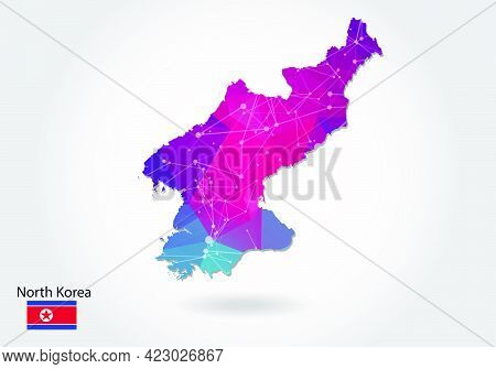Vector Polygonal North Korea Map. Low Poly Design. Map Made Of Triangles On White Background. Geomet