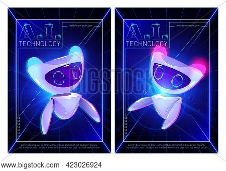 Ai Technology Posters With Cute Robot Character. Artificial Intelligence In Science And Business, Sm