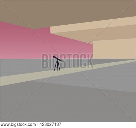 Telescope In The Modern House. Space, Moon, Astronomy Flat Vector Illustration. Exploration Concept