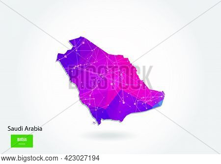 Vector Polygonal Saudi Arabia Map. Low Poly Design. Map Made Of Triangles On White Background. Geome