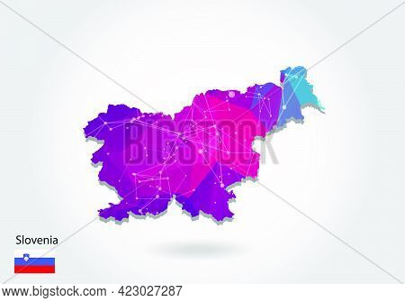 Vector Polygonal Slovenia Map. Low Poly Design. Map Made Of Triangles On White Background. Geometric
