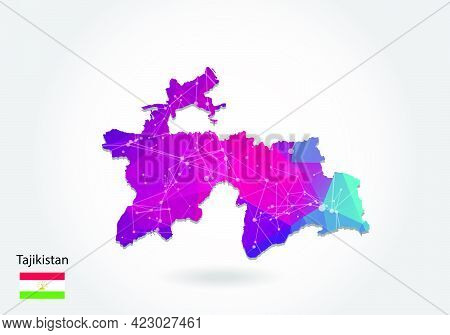 Vector Polygonal Tajikistan Map. Low Poly Design. Map Made Of Triangles On White Background. Geometr