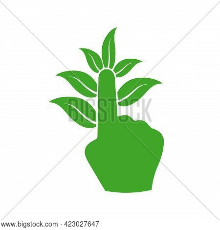 Illustration Vector Graphic Of Hand Logo With Leaves