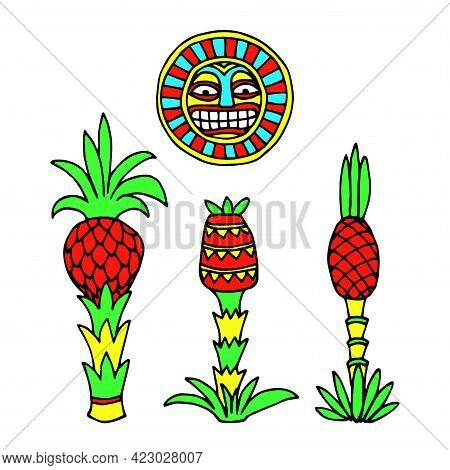 Set Of Decorative Pineapples Under Sun, Indian Traditional Patterns, Color Vector Illustration With
