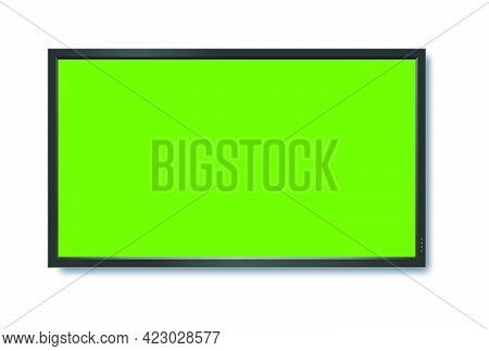 Realistic Tv Lcd Screen Mockup. Panel With Green Screen On Background. Vector Illustration