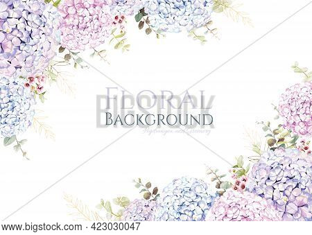 Hydrangea With Greenery Frame Border On White Background. Beautiful Template For Wedding Invitation