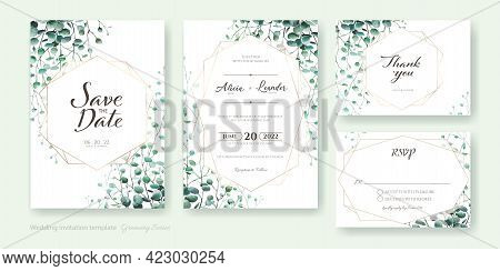 Set Of Greenery Wedding Invitation Card, Save The Date, Thank You, Rsvp Template. Watercolor Styles.