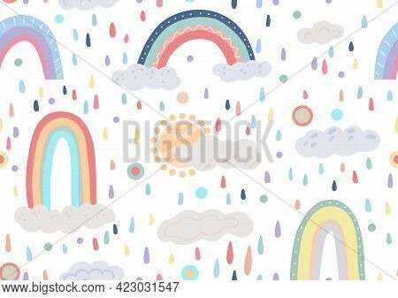Cute Childish Pattern With Different Rainbows, Cloud, Sun On White Background With Colorful Drops An