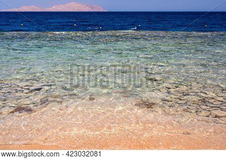 Beautiful Blue Wave With Sea Foam On Sandy Beach. Beautiful Beach Ocean Scene With Blue Wave On Seas
