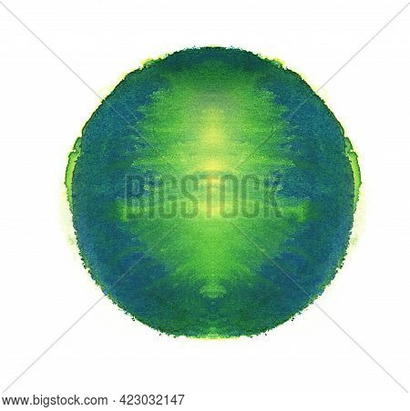 Royal Blue Watercolor Circle. Colorful Hand Made Design Elements. Symmetrical Green And Blue Wet Han