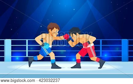 Boxing Among Teen On Ring. Boys Boxing, Kickboxing Children. Children Fight With These Adult Emotion