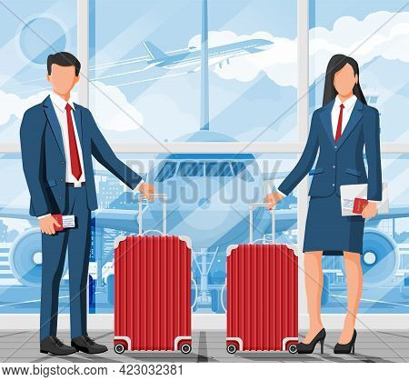 Woman With Travel Bag. Tourist With Suitcase, Passport, Ticket, Boarding Pass In Airport. Businessma