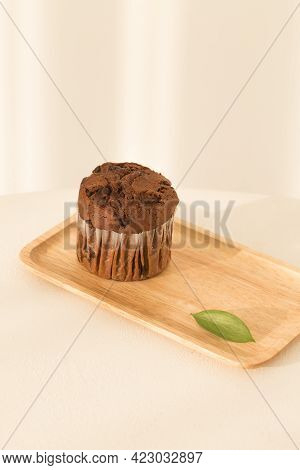 Chocolate Chip Muffin Isolated On White Background