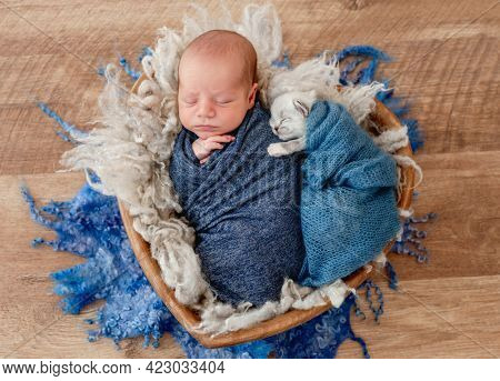 Adorable newborn baby boy swaddled in blue fabric sleeping and little fluffy kitten hugging him. Cute infant kid napping with cat kity in fur in wooden heart bed during studio photoshoot