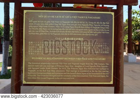Hoi An, Vietnam, May 23, 2021: Plaque Next To The Ship Commemorating Princess Ngoc Hoa's Marriage To