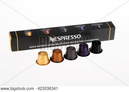 Bordeaux , Aquitaine France - 06 06 2021 : Nespresso Coffee Doses Box Of Pod Aluminum Metal Capsule