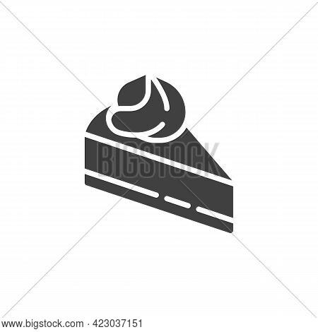 Cheesecake Slice Vector Icon. Filled Flat Sign For Mobile Concept And Web Design. Slice Of Cake Glyp