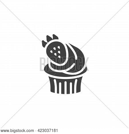 Cupcake With Strawberry Vector Icon. Filled Flat Sign For Mobile Concept And Web Design. Creamy Cupc