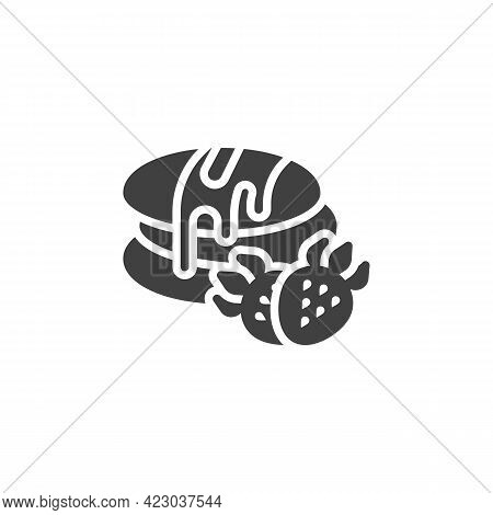Pancakes With Chocolate And Strawberry Vector Icon. Filled Flat Sign For Mobile Concept And Web Desi