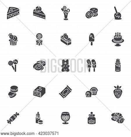 Sweets And Candy Vector Icons Set, Modern Solid Symbol Collection, Filled Style Pictogram Pack. Sign
