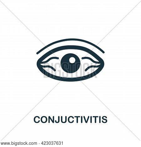 Conjuctivitis Icon. Monochrome Simple Element From Coronavirus Symptoms Collection. Creative Conjuct