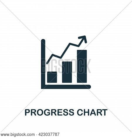 Progress Chart Icon. Monochrome Simple Element From Digital Service Collection. Creative Progress Ch