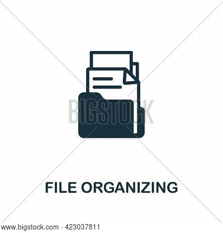 File Organizing Icon. Monochrome Simple Element From Digital Service Collection. Creative File Organ