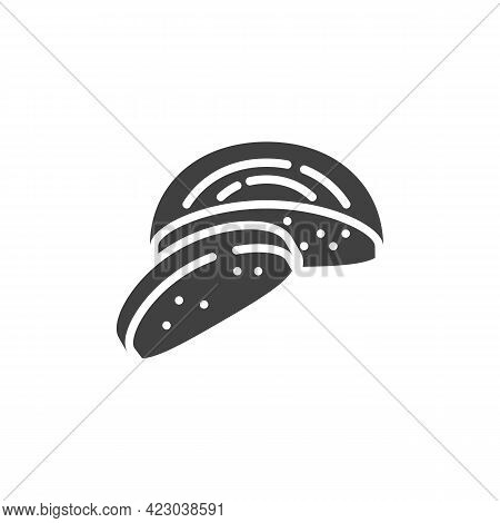 Black Bread Vector Icon. Filled Flat Sign For Mobile Concept And Web Design. Rye Bread Glyph Icon. S