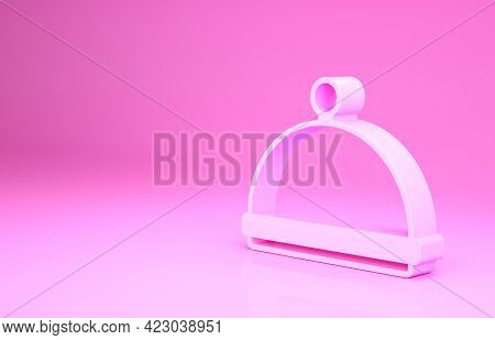 Pink Covered With A Tray Of Food Icon Isolated On Pink Background. Tray And Lid Sign. Restaurant Clo