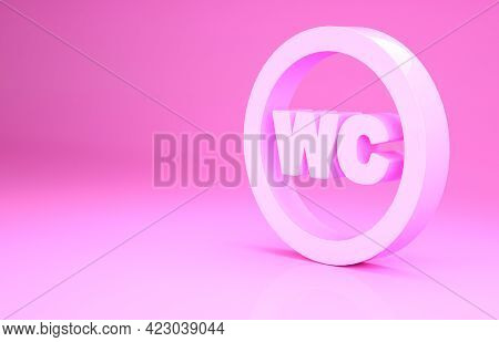 Pink Toilet Icon Isolated On Pink Background. Wc Sign. Washroom. Minimalism Concept. 3d Illustration
