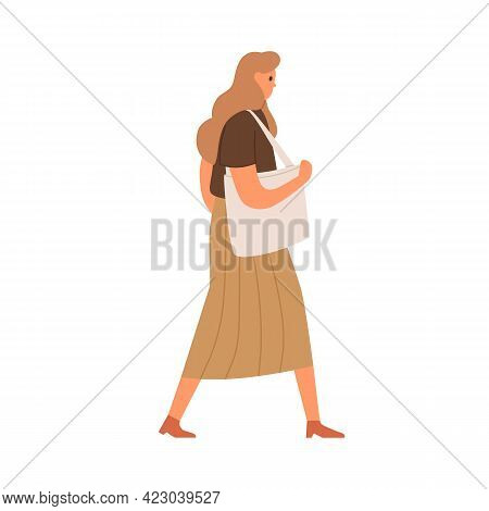 Young Woman Walking In Casual Clothing. Profile Of Abstract Female Character With Shoulder Bag, Wear