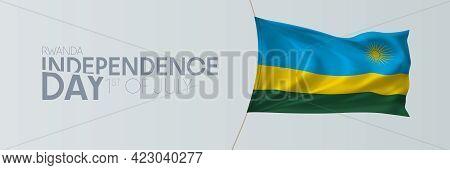 Rwanda Independence Day Vector Banner, Greeting Card.